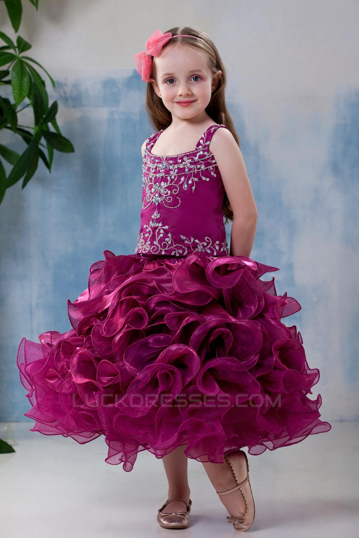 858e4483d Ball Gown Tea Length Straps Beaded Flower Girl Dresses 2050012