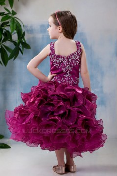 Ball Gown Tea Length Straps Beaded Flower Girl Dresses 2050012