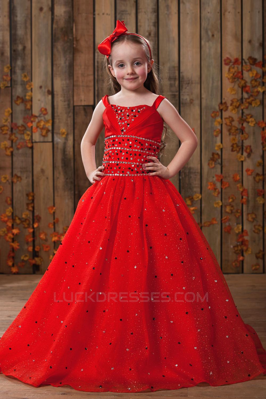 9405cf9b5a A-Line Beaded Spaghetti Strap Flower Girl Dresses 2050016