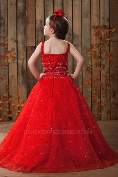 A-Line Beaded Spaghetti Strap Flower Girl Dresses 2050016
