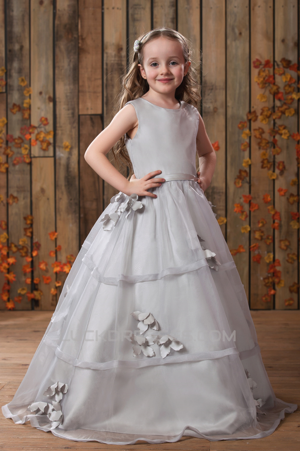 Gorgeous Ball Gown Scoop Long Sleeve Lace White Flower ... |Flower Girl Dress Brooches