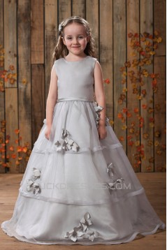 A-Line Beaded Handmade Flowers Flower Girl Dresses 2050017
