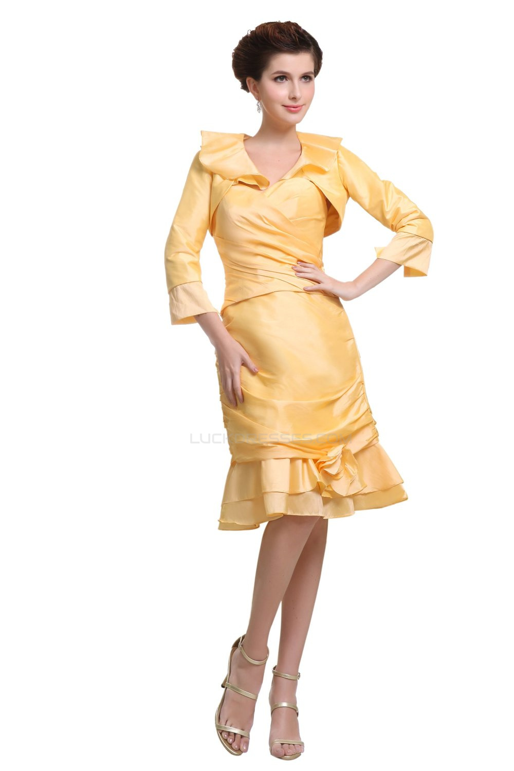 Mother Of the Bride//Occasion Dresses Outfit Jacket 2pcs Knee Length Party Gowns
