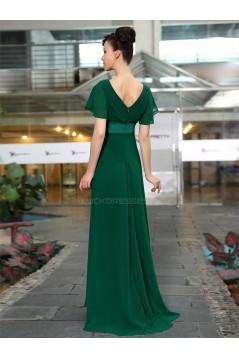 A-Line V-Neck Long Chiffon Mother of the Bride Dresses M010013