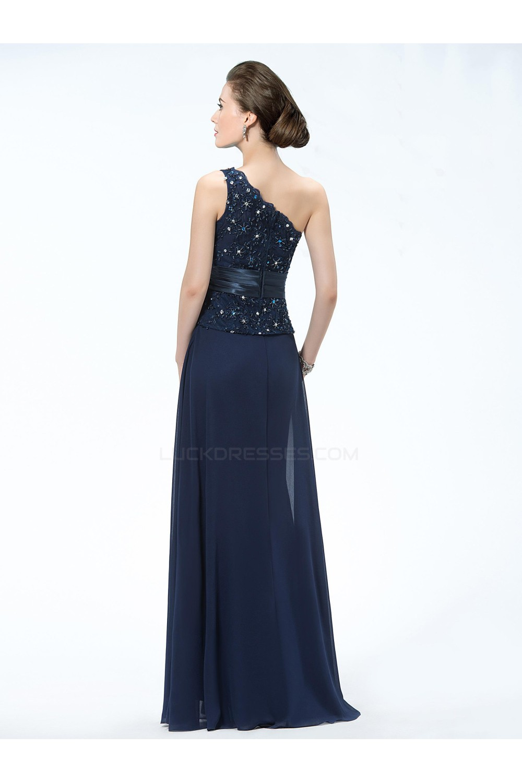 Elegant One Shoulder Long Navy Blue Mother Of The Bride