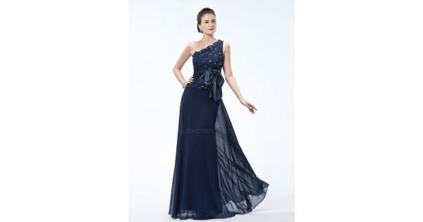 Elegant One-Shoulder Long Navy Blue Mother Of The Bride
