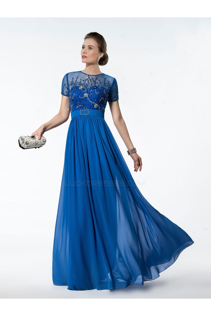 A Line Jewel Short Sleeve Beaded Long Blue Chiffon Mother