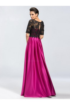 A-Line Half Sleeve Lace and Satin Mother of the Bride Dresses M010045