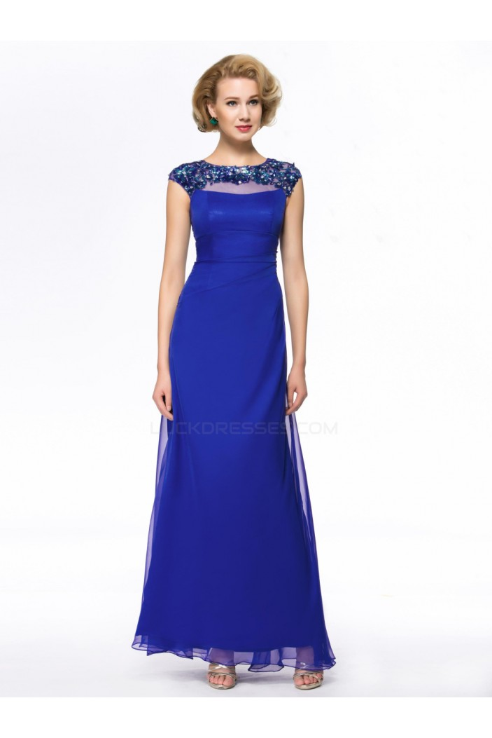 Long Blue Beaded Mother of the Bride Dresses M010054