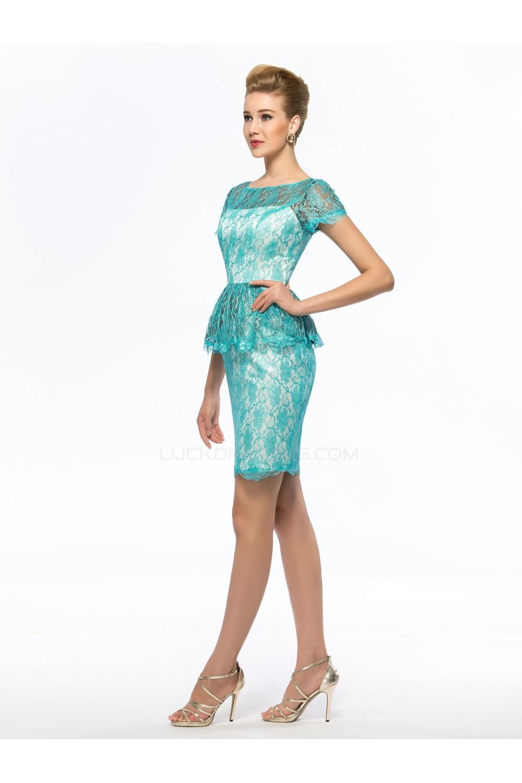 Short Bateau Lace Mother of the Bride Dresses M010072