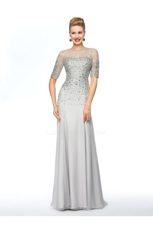 5aacb5e86ef Beaded Short Sleeve Jewel Long Chiffon Mother of the Bride Dresses M010075
