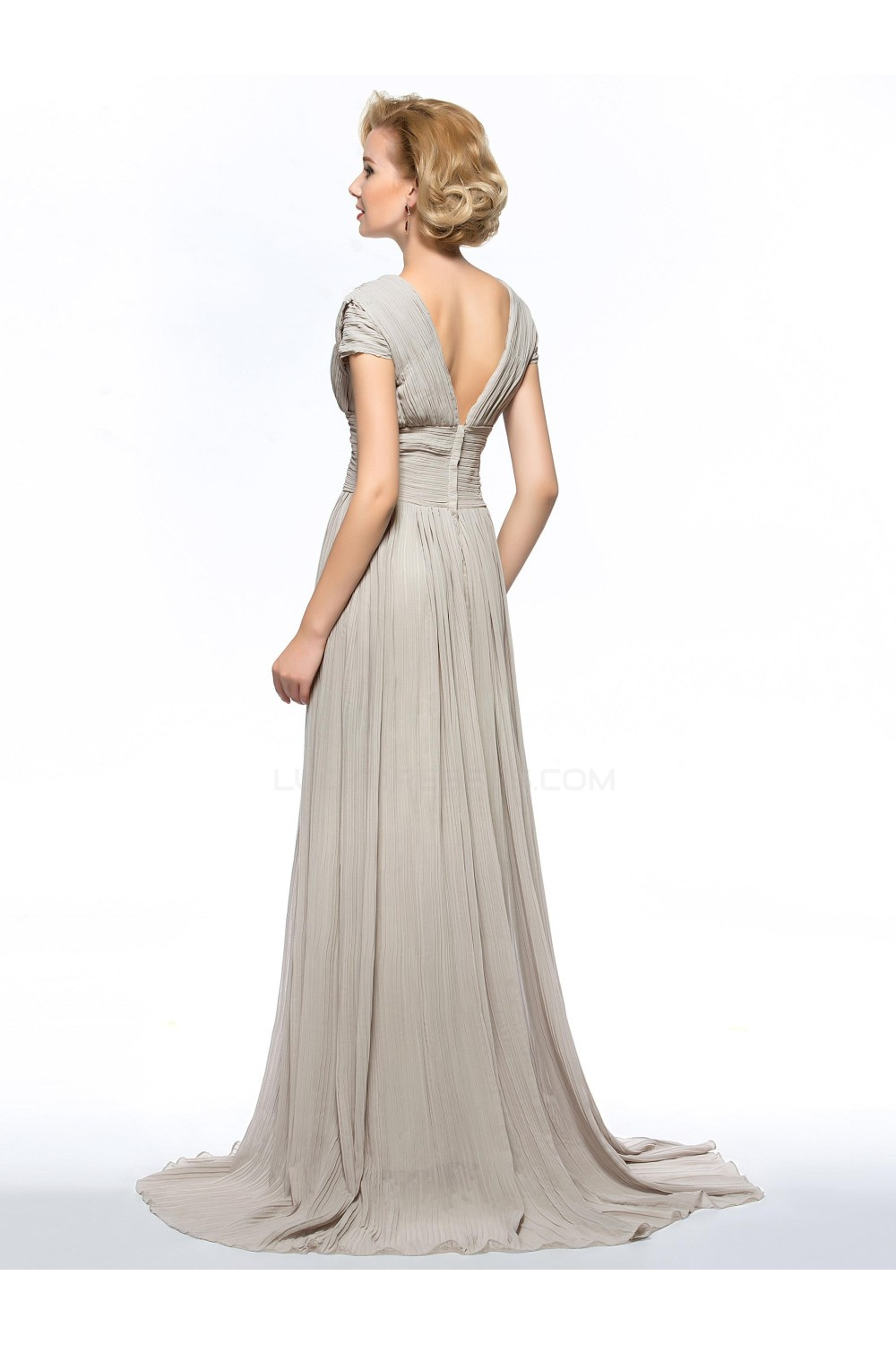 A Line V Neck Cap Sleeve Pleated Split Front Long Chiffon