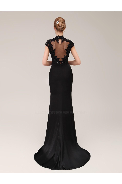 597034cc00 Trumpet Mermaid High-Neck Long Black Beaded Applique Mother of the Bride  Dresses M010078