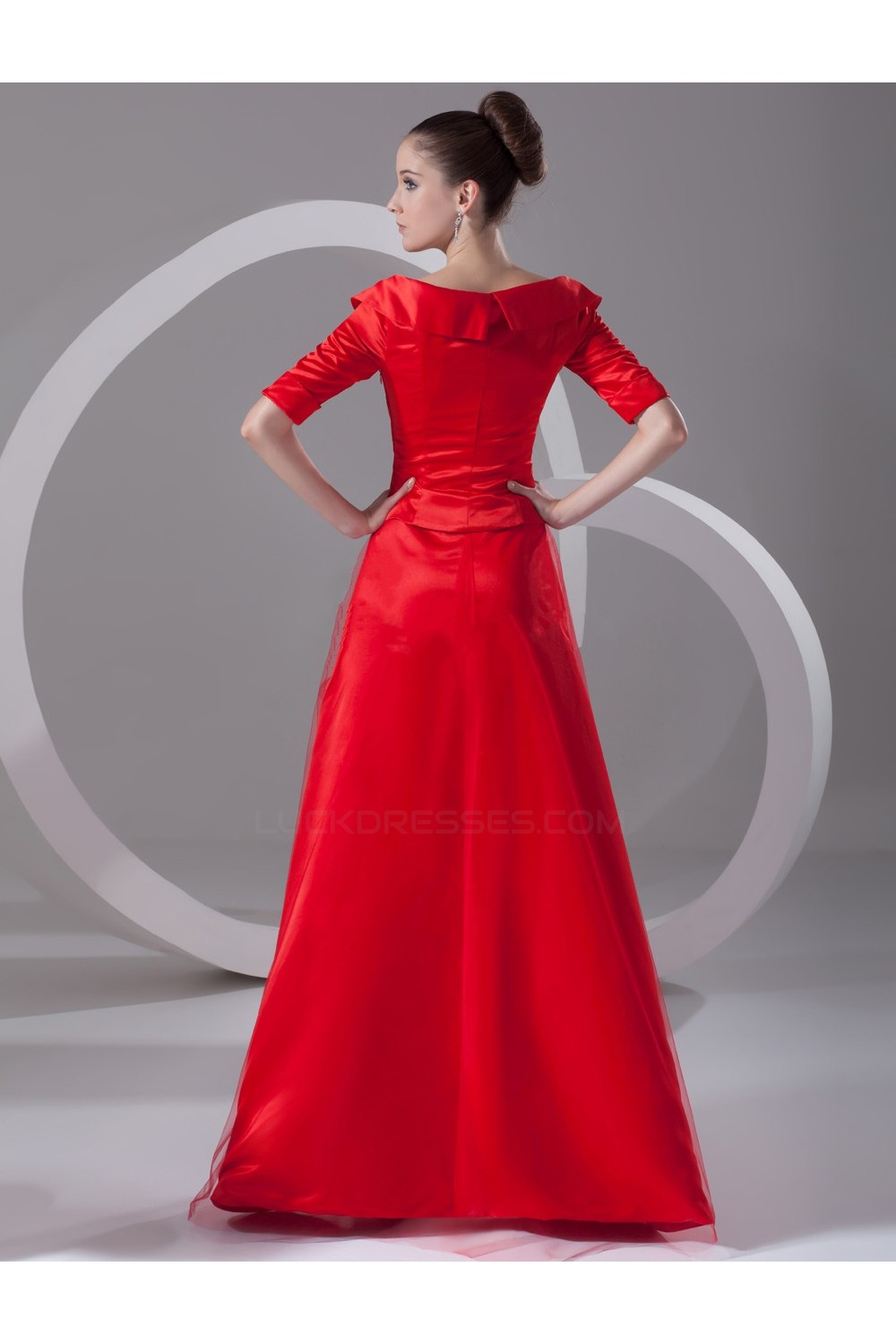 98f531aecd7c A-Line Off-the-Shoulder Half Sleeve Long Red Mother of the Bride ...