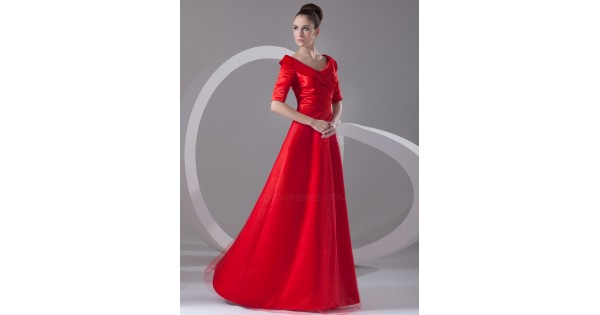 A-Line Off-the-Shoulder Half Sleeve Long Red Mother Of The