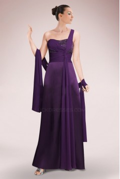 A-Line Beaded One-Shoulder Long Mother of the Bride Dresses M010093