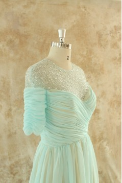 A-Line Beaded Short Sleeve Long Chiffon Mother of the Bride Dresses M010100