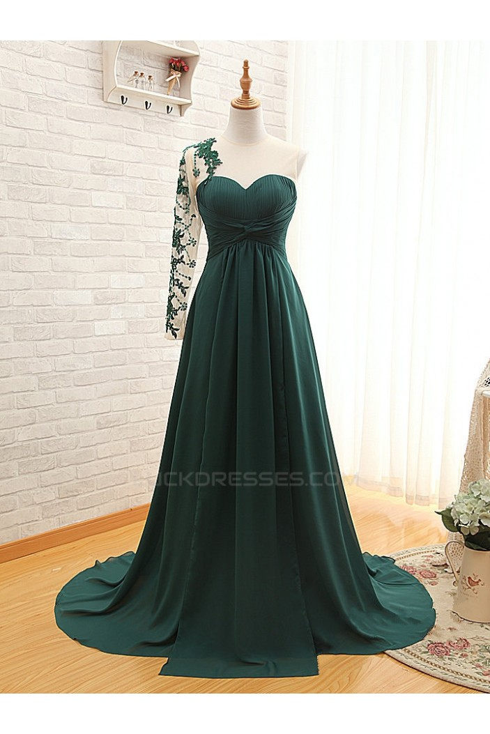 A-Line One Sleeve Long Chiffon Mother of the Bride Dresses M010105