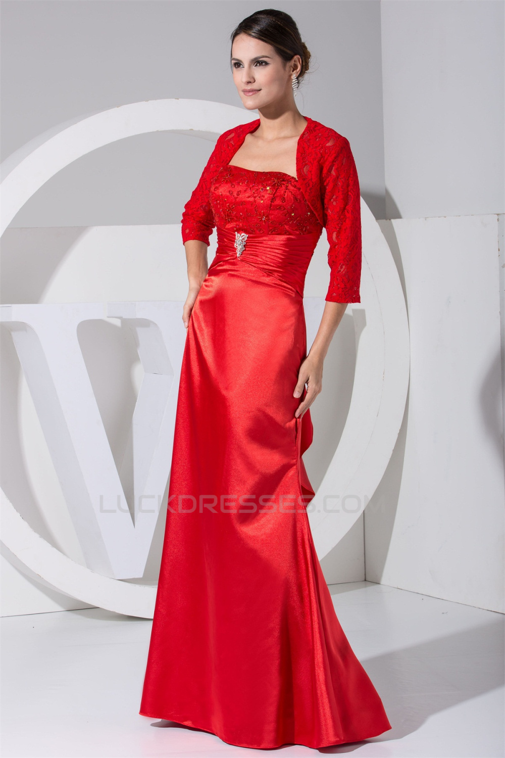 3/4 Sleeve Strapless A-Line Floor-Length Mother of the Bride Dresses ...