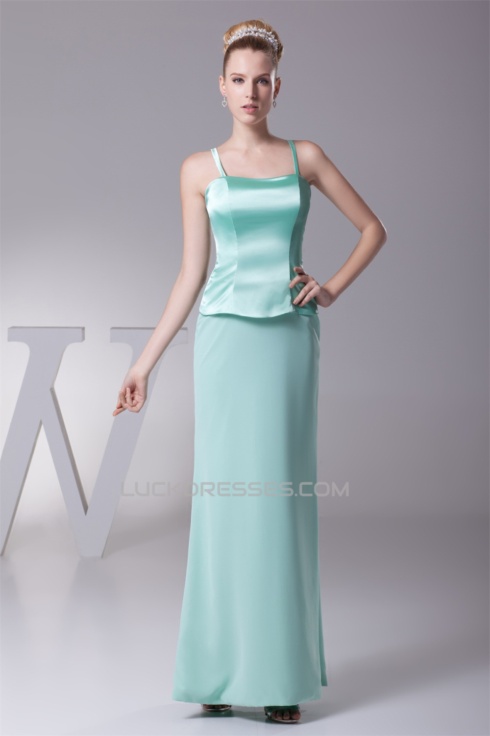 Chiffon Silk like Satin 3/4 Sleeve Straps Mother of the Bride ...