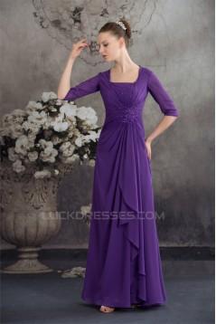 Elegant Half Elbow Length Floor-Length Square Chiffon Long Mother of the Bride Dresses 2040044