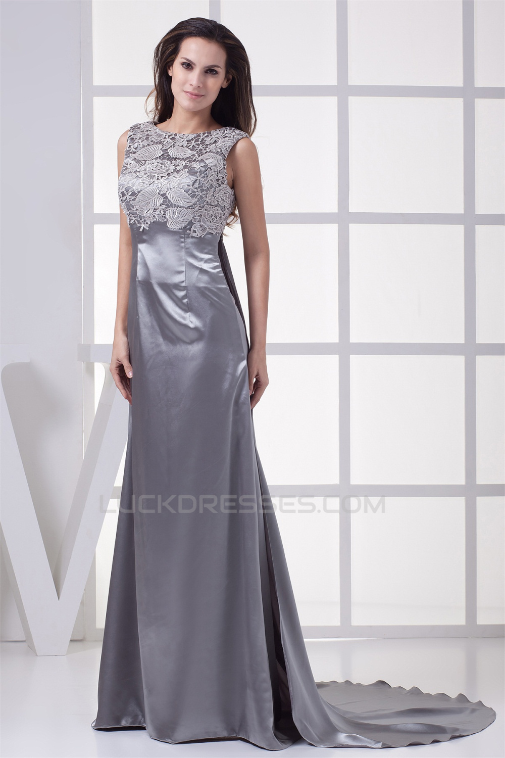 Elegant Lace Silk Like Satin Long Silver Mother Of The