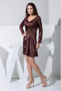 Long Sleeves Elastic Woven Satin Short/Mini Mother of the Bride Dresses 2040051