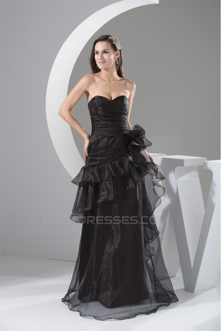 A-Line Sweetheart Handmade Flowers Organza Long Black Mother of the Bride Dresses 2040059