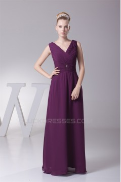Sheath/Column Pleats Chiffon Silk like Satin Long Mother of the Bride Dresses 2040074