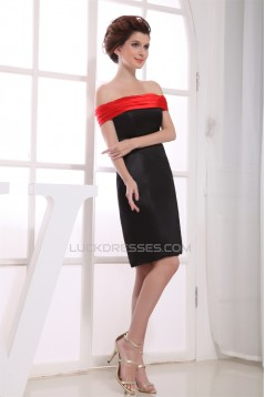 A-Line Sleeveless Off-the-Shoulder Elastic Woven Satin Mother of the Bride Dresses 2040090