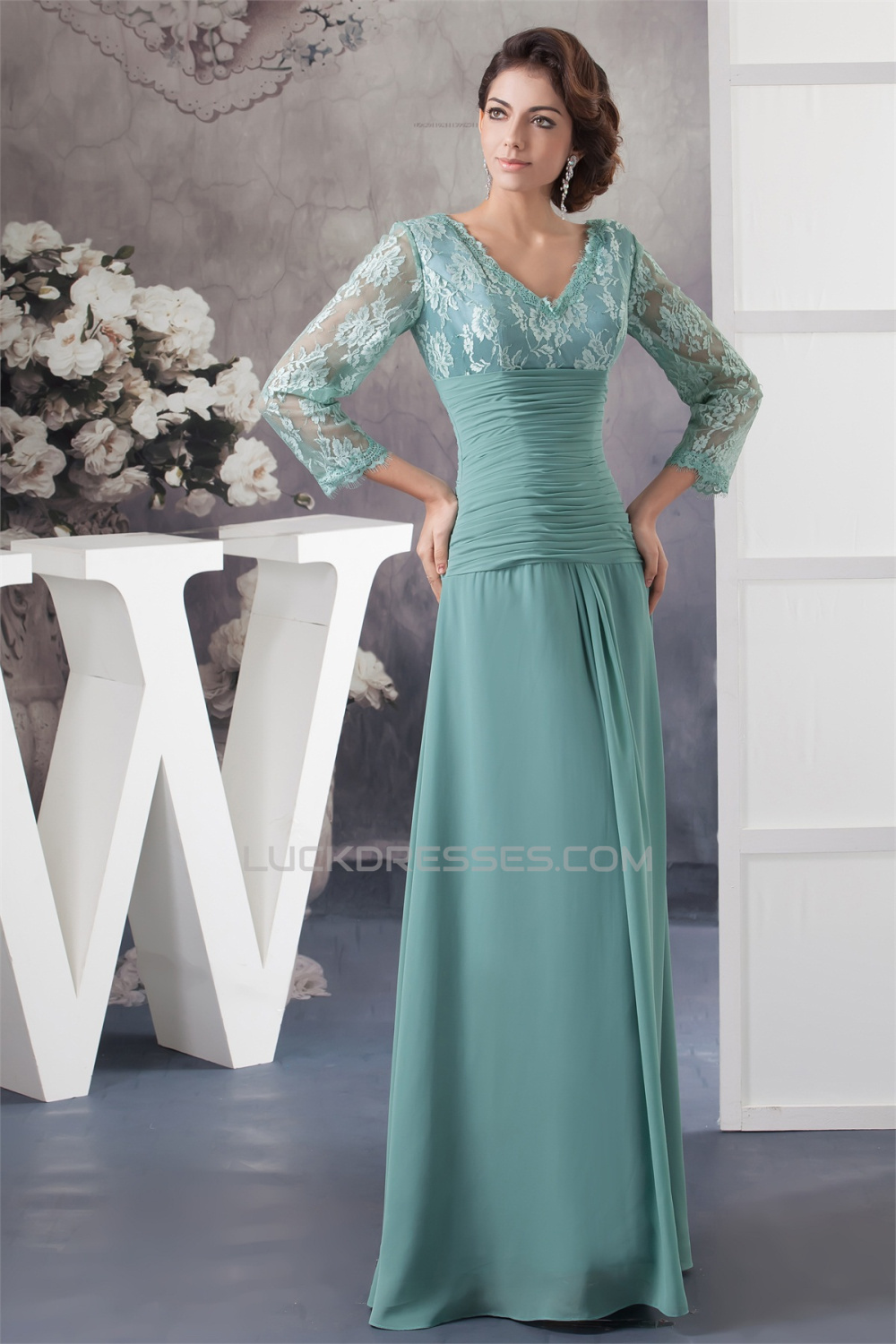 Sheath Column 3 4 Sleeve Floor Length Chiffon Lace Mother