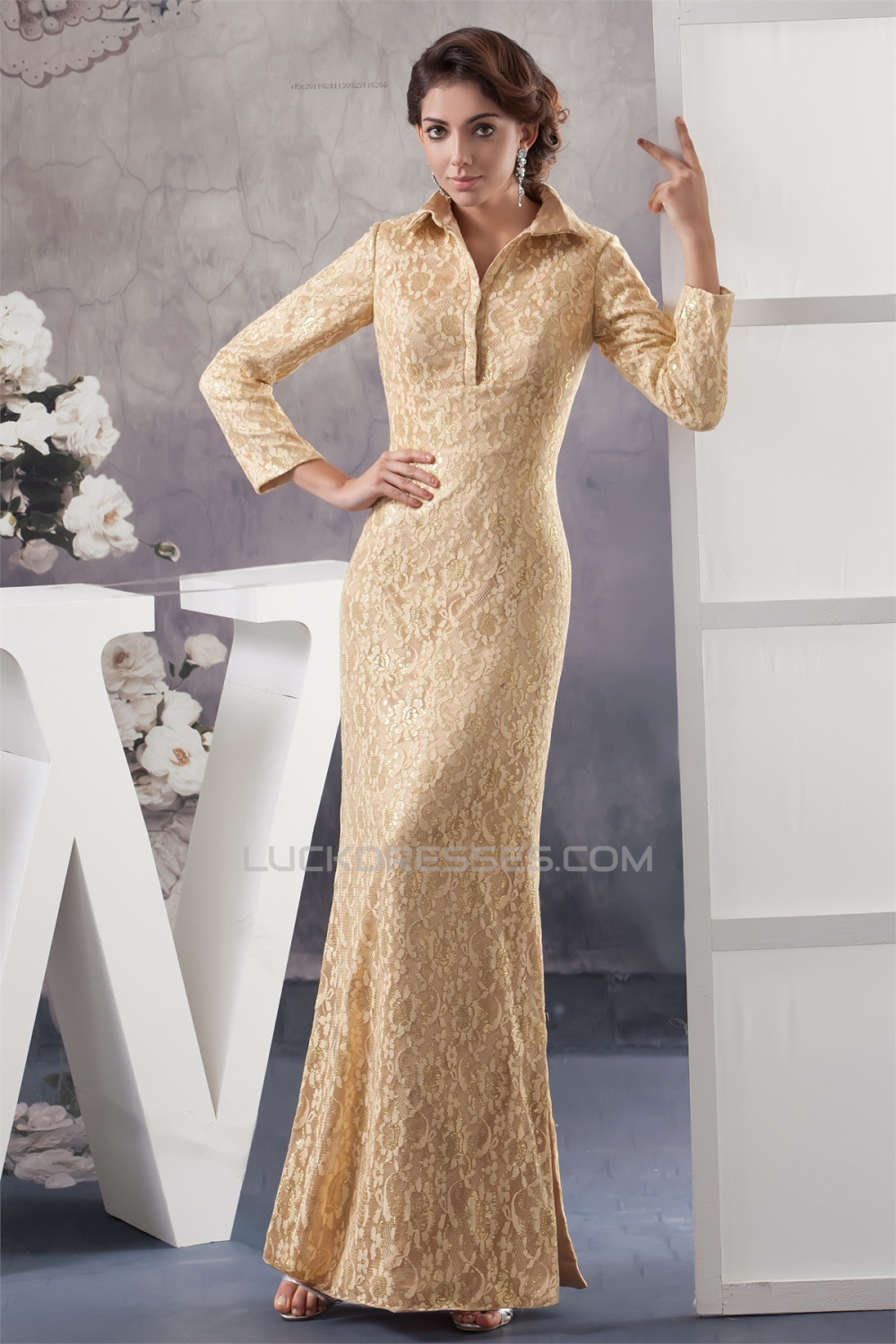 3/4 Sleeve Lace Floor-Length High-Neck Mother of the Bride Dresses ...