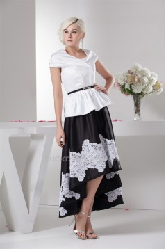 Asymmetrical A-Line Taffeta Lace Applique Mother of the Bride Dresses 2040109