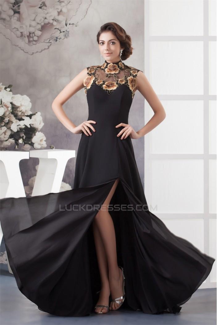 A-Line High-Neck Split Side Chiffon Mother of the Bride Dresses 2040120