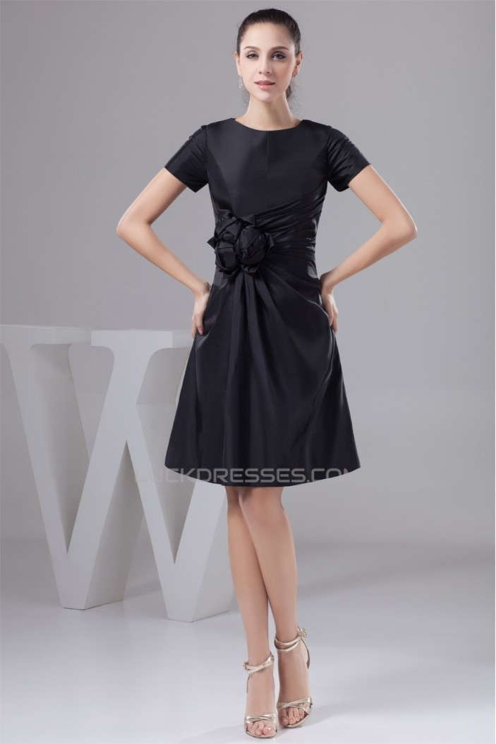A Line Handmade Flowers Knee Length Scoop Short Black Mother Of The Bride Dresses 2040131
