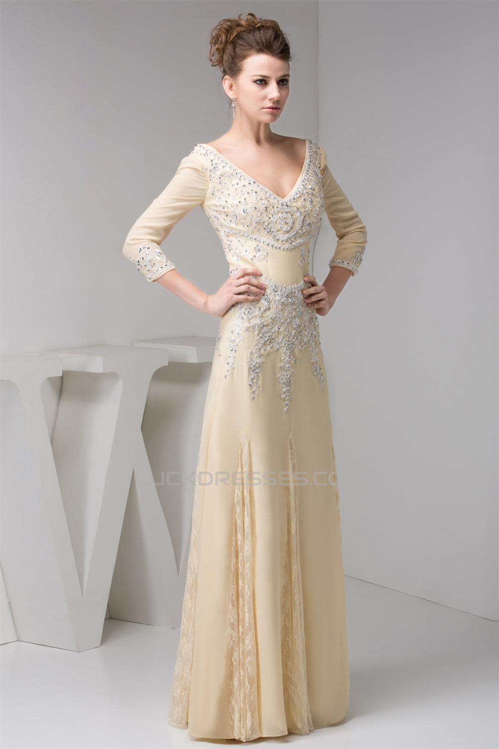 A Line 3 4 Sleeves Lace Chiffon Beaded Applique Long