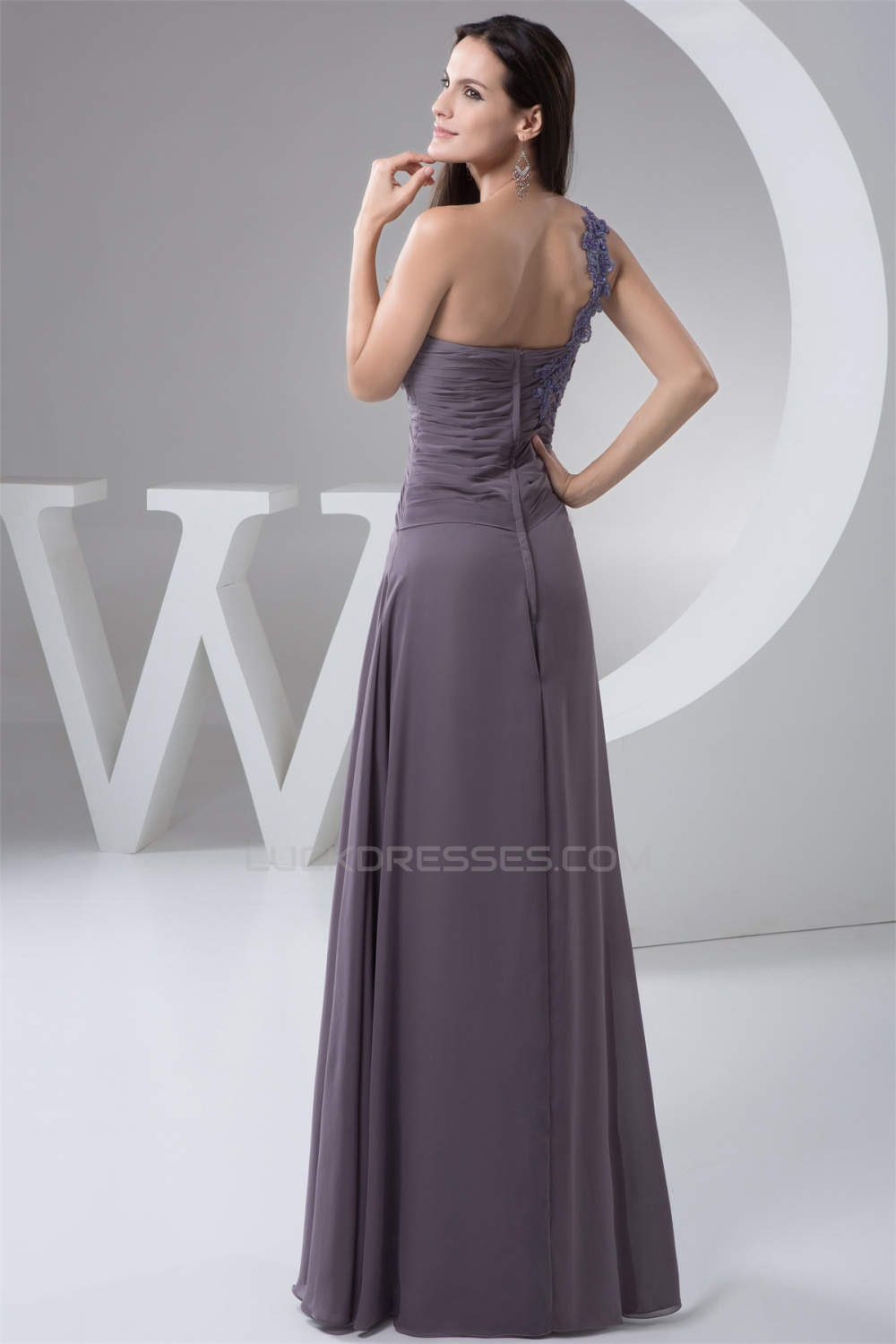 A Line One Shoulder Floor Length Chiffon Lace Mother Of