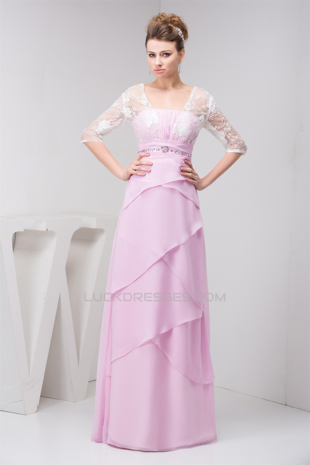 Sheath/Column Strapless Floor-Length Chiffon Lace Mother of the ...