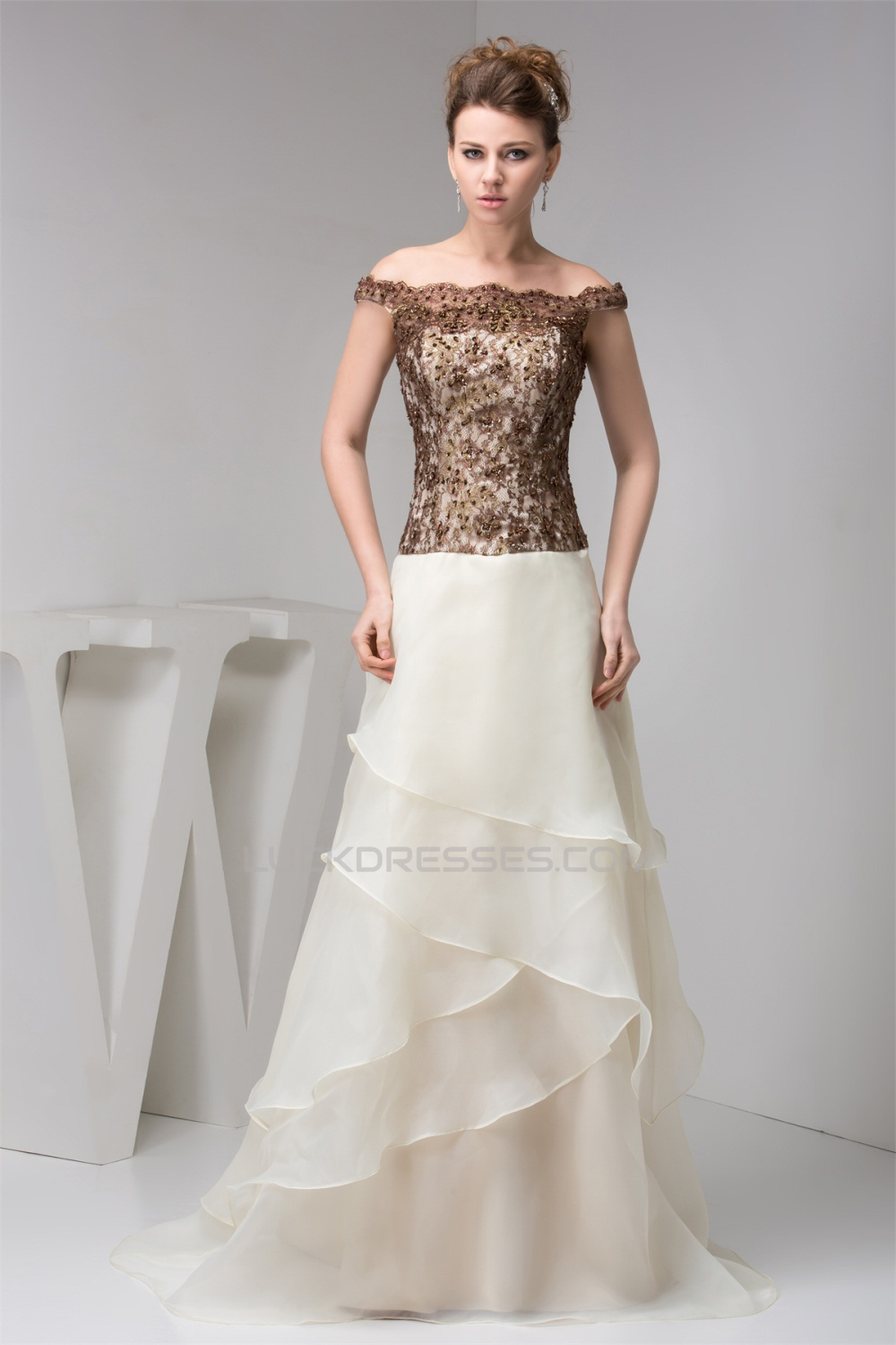 A-Line Off-the-Shoulder Straps Lace Organza Sleeveless Mother of the ...