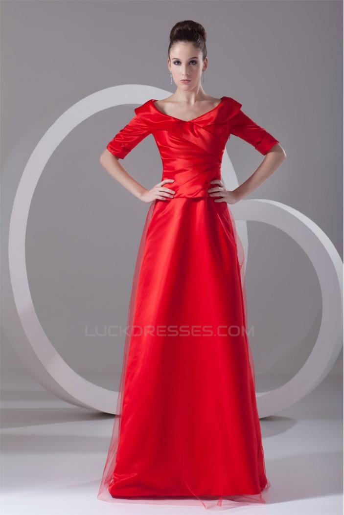 A-Line Half Elbow Length Satin Net Floor-Length Mother of the Bride Dresses 2040162
