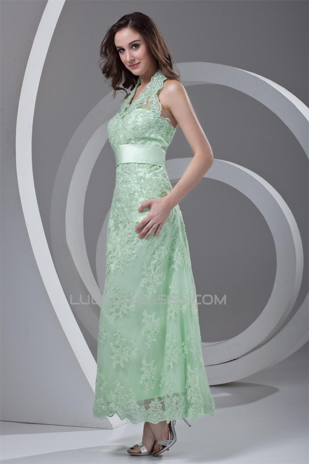 Ankle Length Satin Lace Appliques Sleeveless Halter Mother