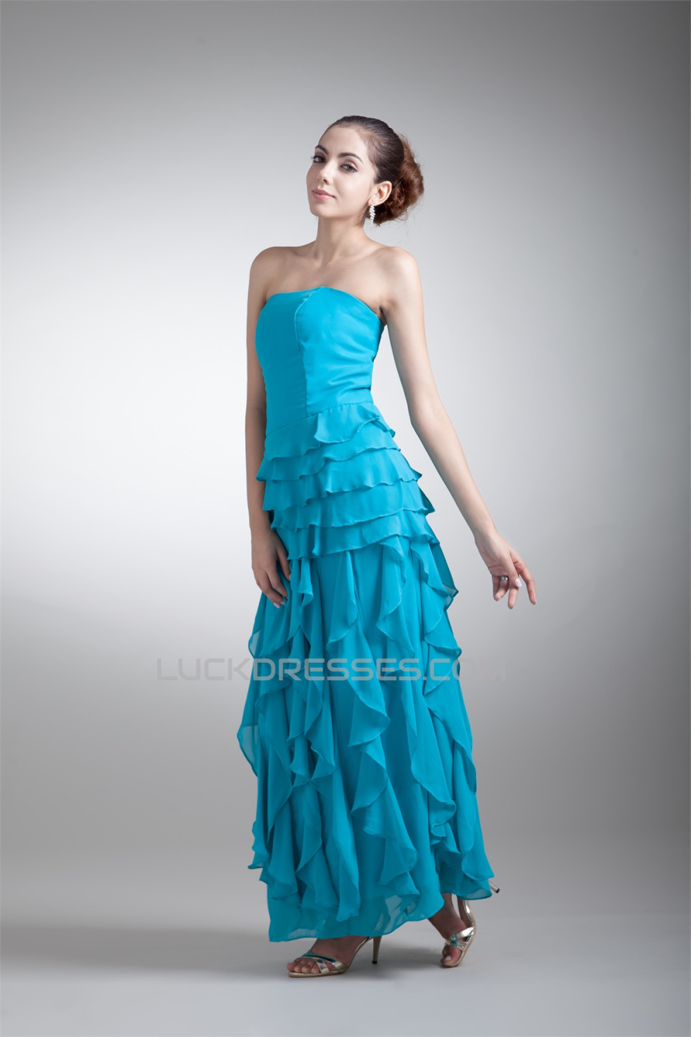 Cascading Ruffles Ankle Length Chiffon Mother Of The Bride