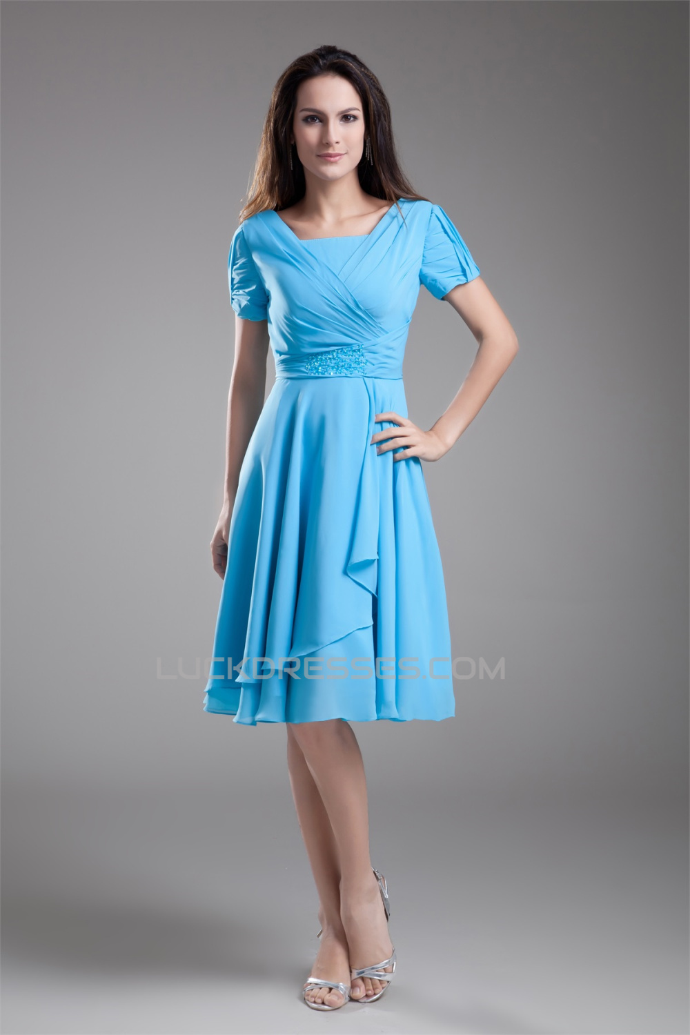 A Line Short Sleeve Beading Cowl Chiffon Mother Of The