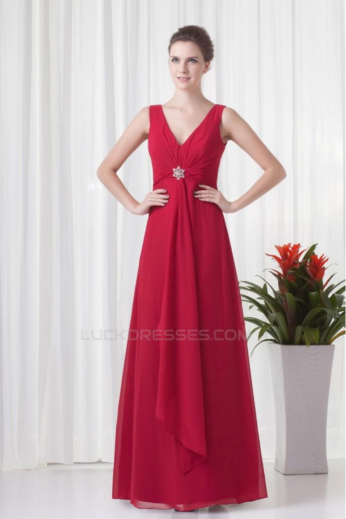 A-Line V-Neck Pleats Sleeveless Floor-Length Chiffon Mother of the Bride Dresses 2040193