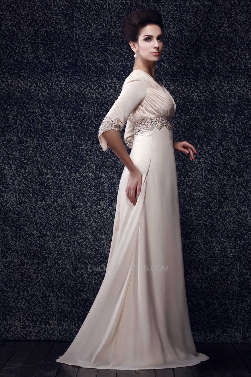 A-Line V-Neck Beaded Long Chiffon Mother of the Bride