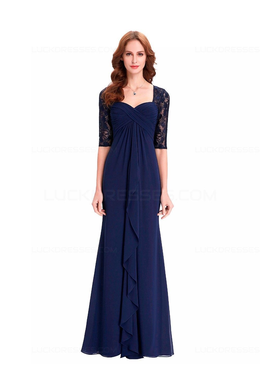Long Navy Blue Half Sleeves Lace Chiffon Mother Of The