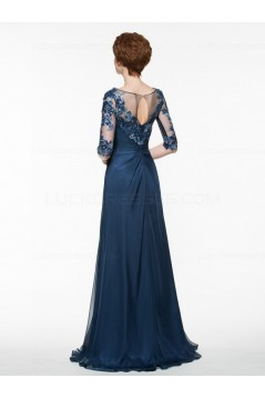 Half Sleeves Illusion Neckline Lace Appliques Chiffon Mother of The Bride Dresses 3040005