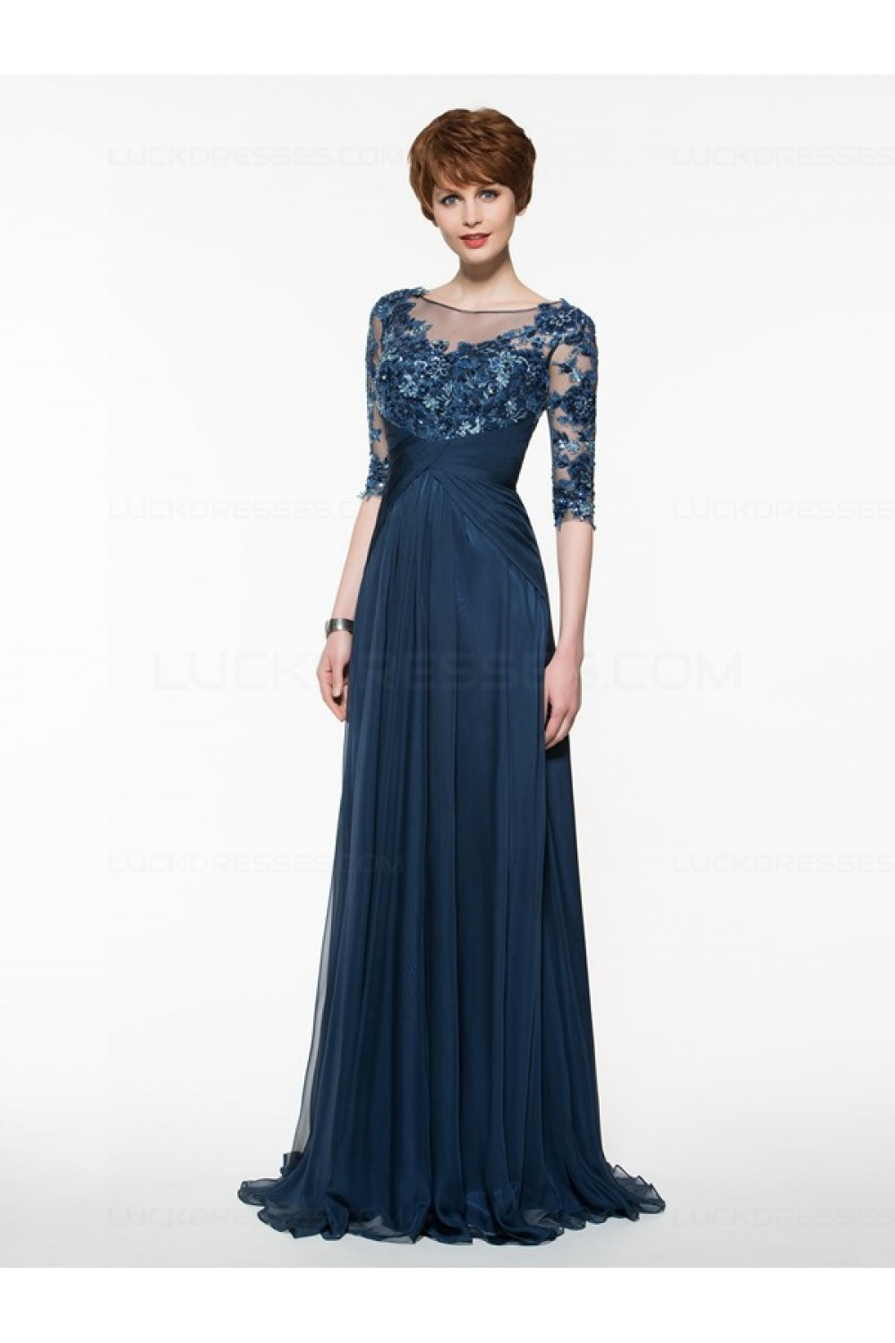 Half Sleeves Illusion Neckline Lace Liques Chiffon Mother Of The Bride Dresses 3040005