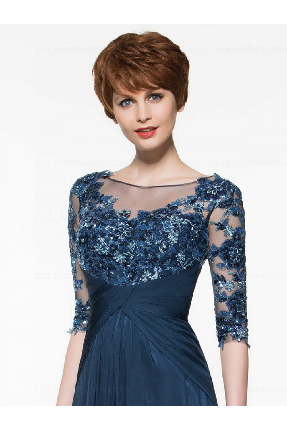bfe0bb16c6 Half Sleeves Illusion Neckline Lace Appliques Chiffon Mother of The Bride  Dresses 3040005