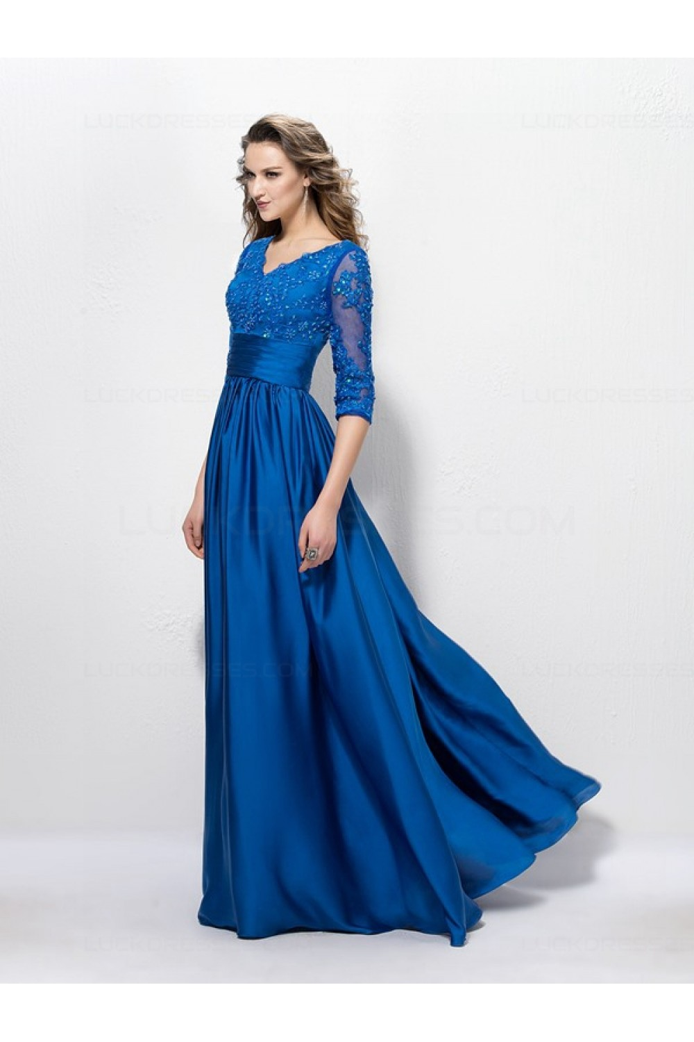 A-Line Long Blue V-Neck 3/4 Length Sleeves Lace Mother of ...